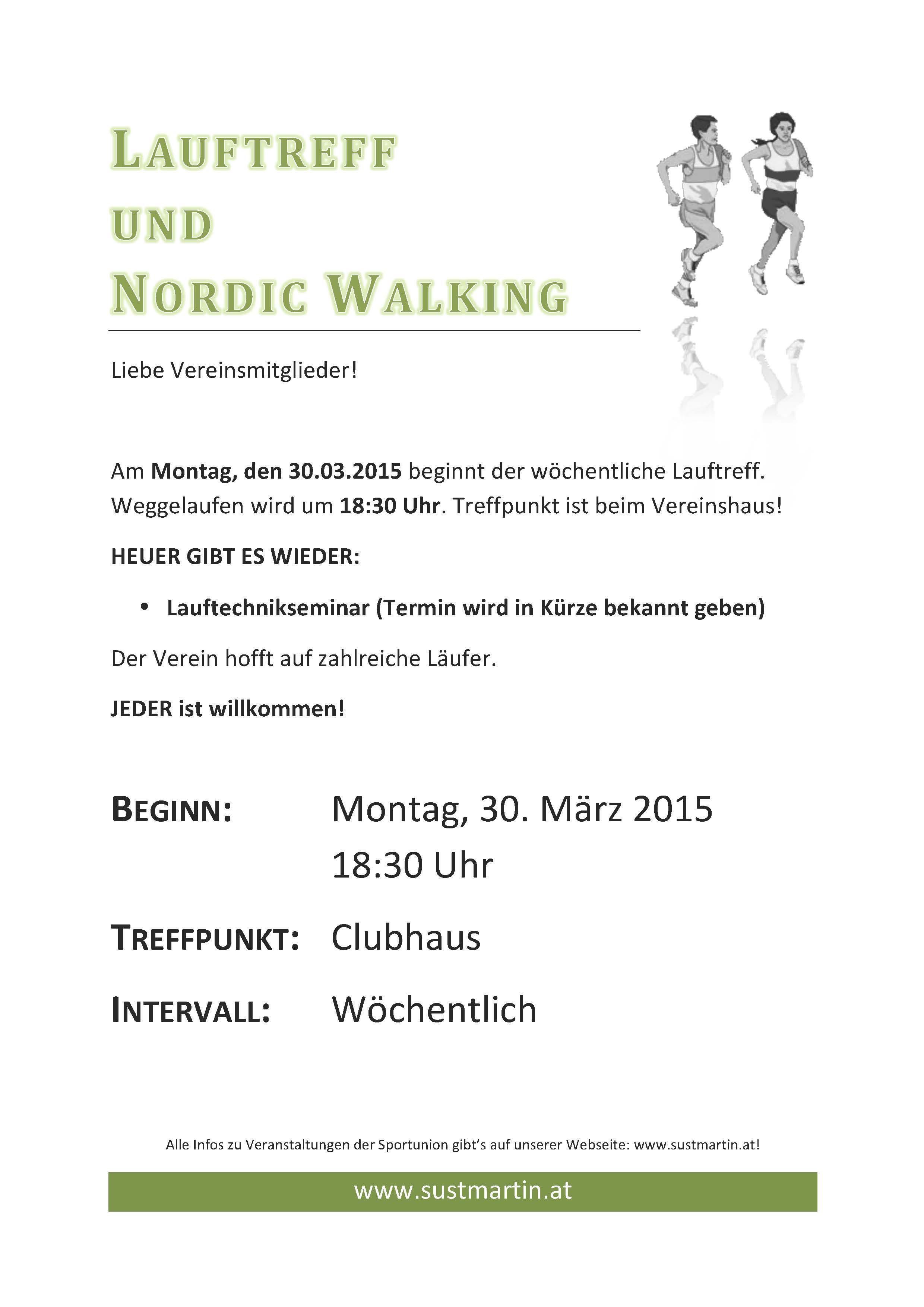 Start Lauftreff (samt Nordic Walking)